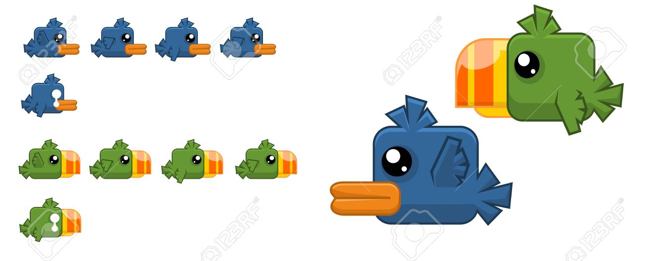 Animated flappy bird game character - 107336442