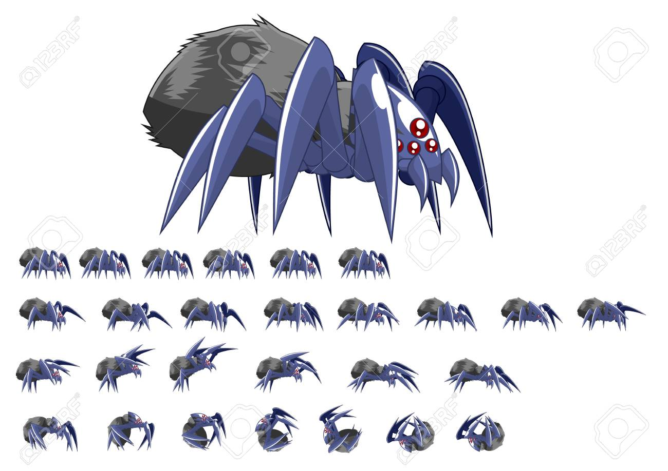 Animated Spider Game Character - 107336484