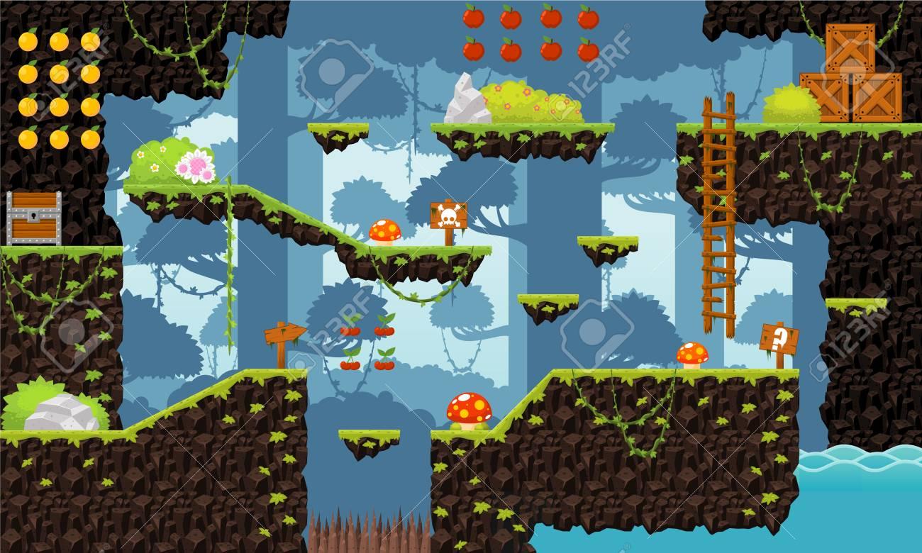 Jungle game level tileset - 107336571