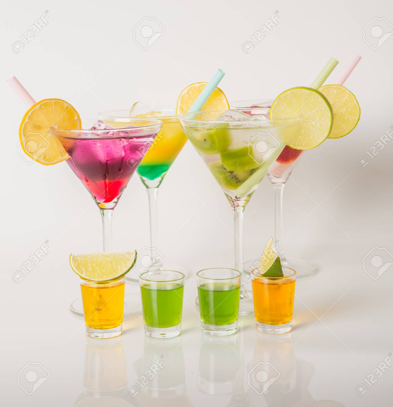 Colorful Set Of Drinks, Color Drink Decorated With Fruit, Color ...