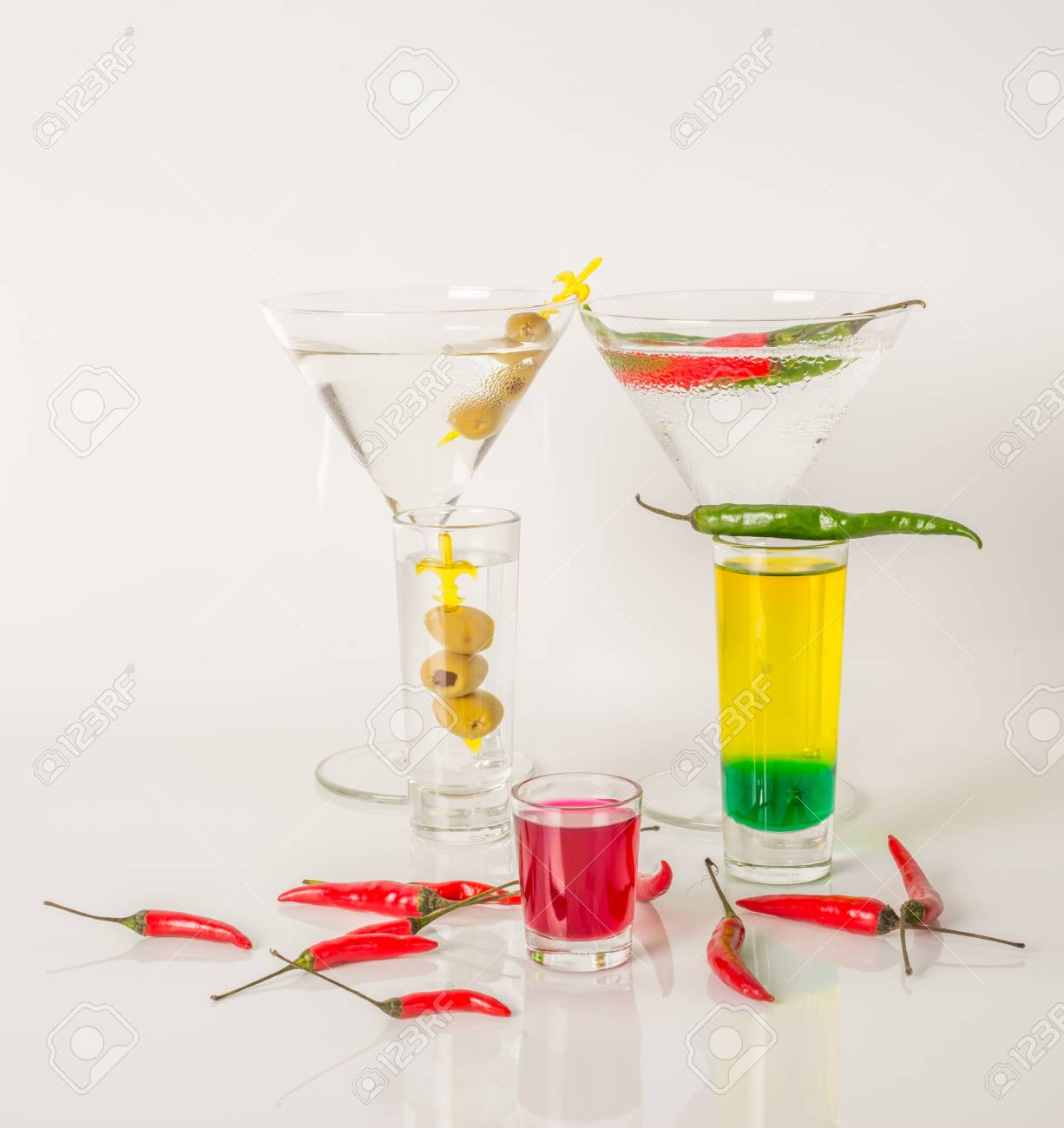 Colorful Set Of Drinks, Color Drink Decorated With Olives And ...
