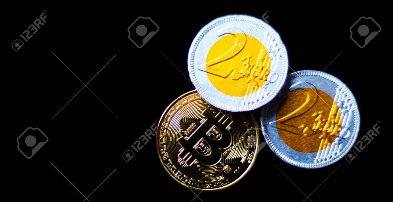 Crypto currency Gold Bitcoin with chocolate euro, BTC, macro