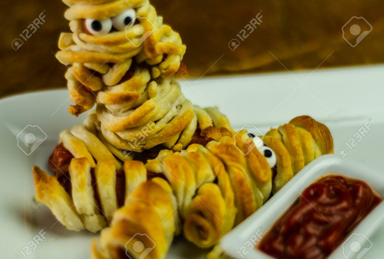 Sausage Mummies In Dough Scary Halloween Food Celebration Party