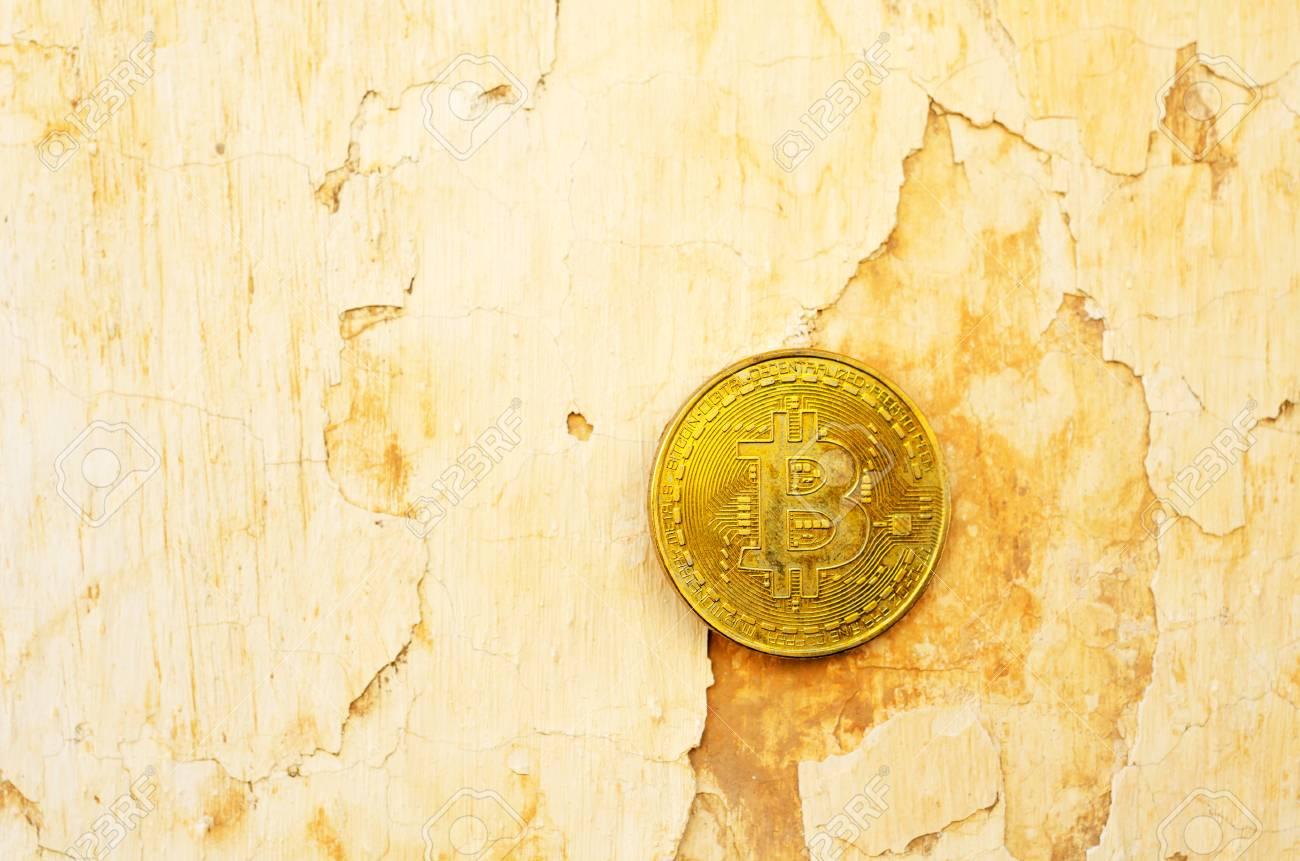 Crypto currency Gold Bitcoin, BTC, macro shot of Bitcoin coins