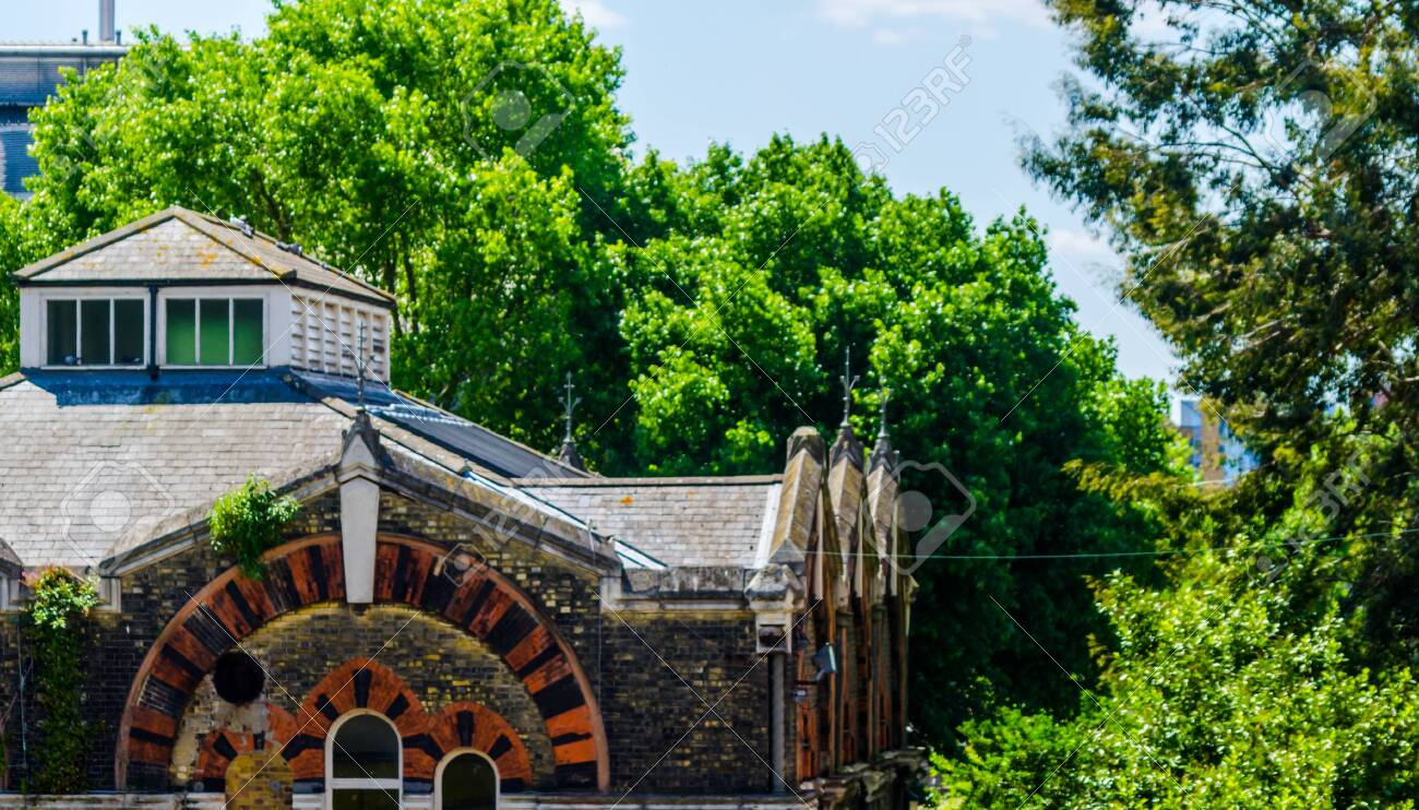 LONDON, UK - MAY 21, 2019 Original Abbey Mills Pumping Station, in Abbey Lane, London, is a sewage pumping station, designed by engineer Joseph Bazalgette, Edmund Cooper and architect Charles Driver. Characteristic Byzantine style - 140732335