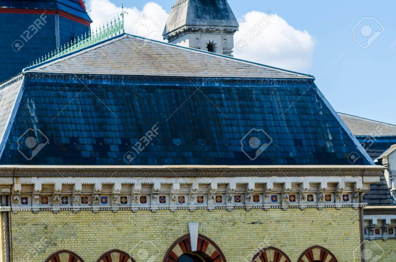 LONDON, UK - MAY 21, 2019 Original Abbey Mills Pumping Station, in Abbey Lane, London, is a sewage pumping station, designed by engineer Joseph Bazalgette, Edmund Cooper and architect Charles Driver. Characteristic Byzantine style - 140732345