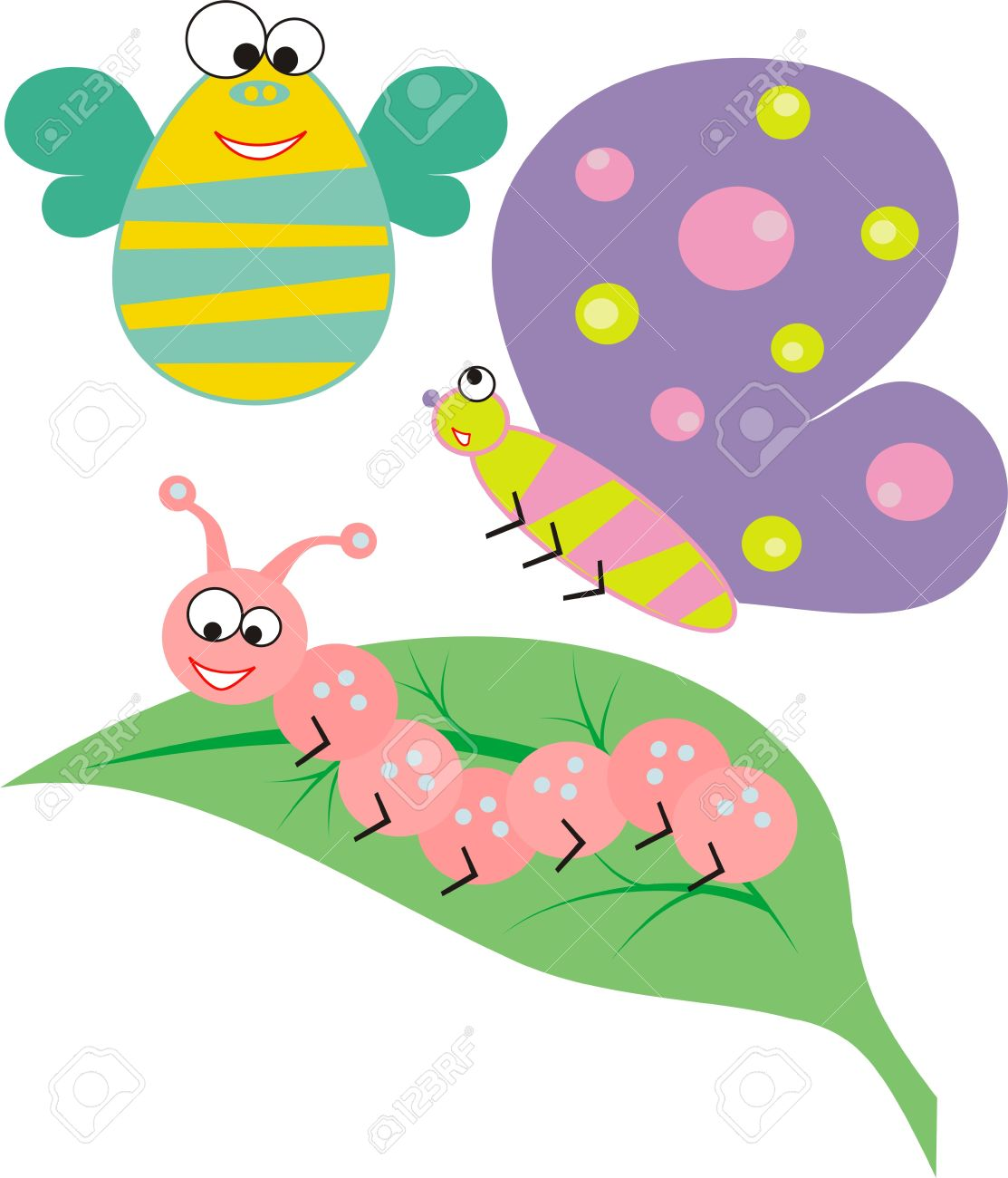 Three funny cartoon insects and leaf Stock Vector - 10525200