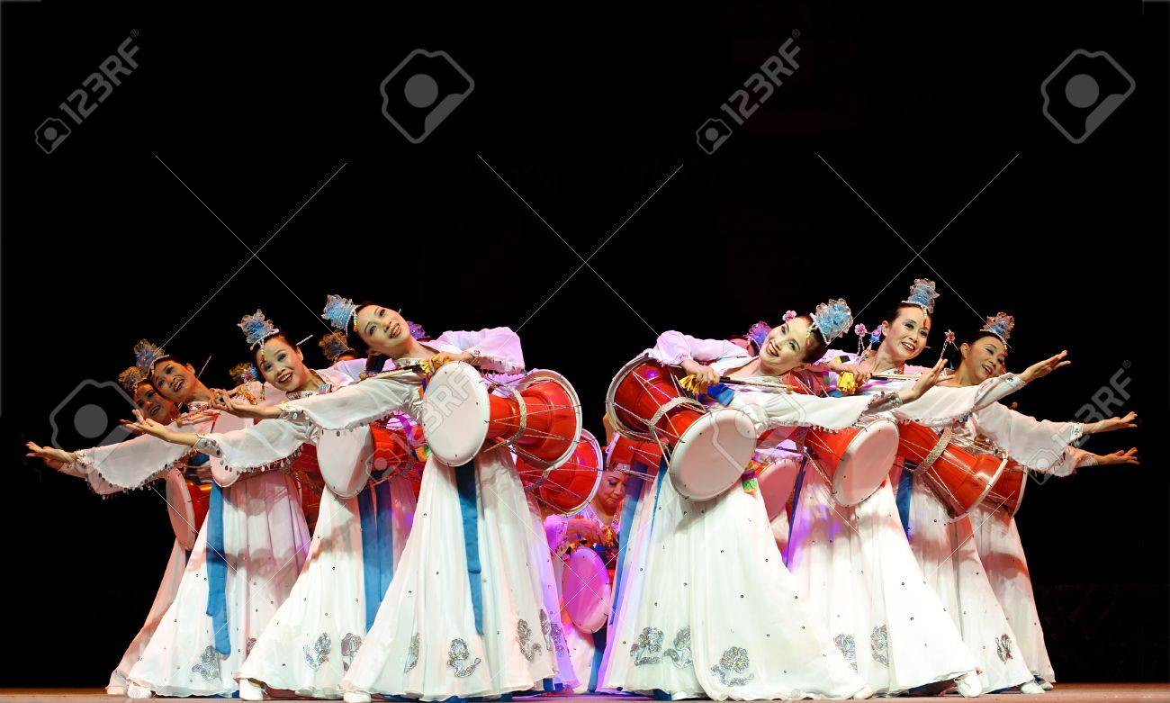 CHENGDU - SEP 28: Korean ethnic dance in the 6th Sichuan minority nationality culture festival at JINJIANG theater.Sep 28,2010 in Chengdu, China. Stock Photo - 8465490