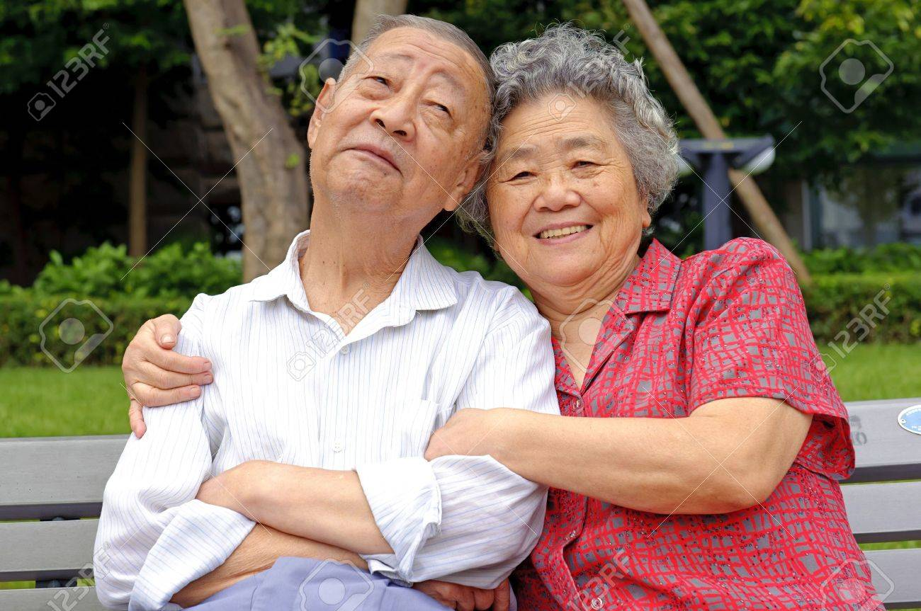 happy senior couple embraced Stock Photo - 9329901