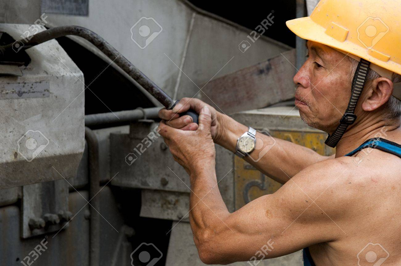 hardworking laborer on construction site Stock Photo - 9632125