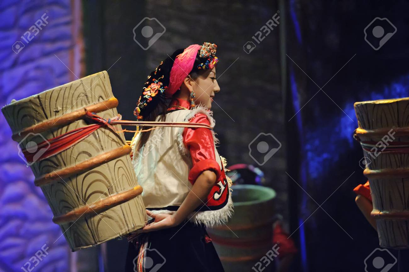 CHENGDU - SEP 27: chinese Tibetan ethnic dancer performs on stage at Sichuan experimental theater.Sep 27,2010 in Chengdu, China. Stock Photo - 12489200
