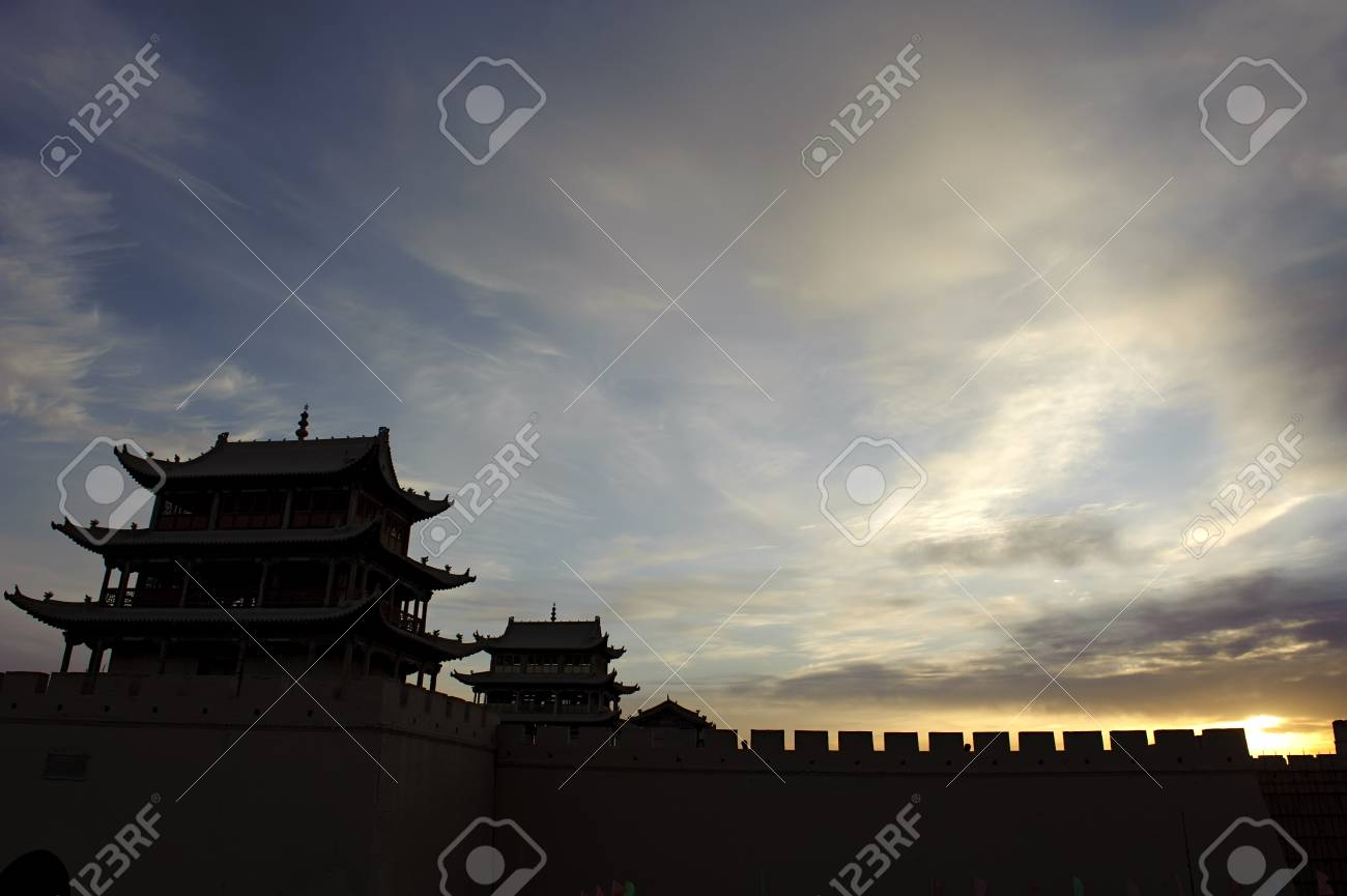Sunrise of the Jiayuguan Pass Tower Stock Photo - 16782535
