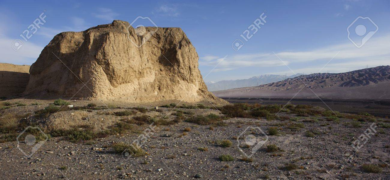 The First Pier of Great Wall in the Gobi Desert,in Jiayuguan city Stock Photo - 17212742