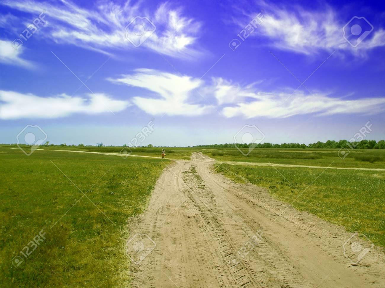 Rural sandy road.The little girl away on rural sandy road among grassland Stock Photo - 7709083