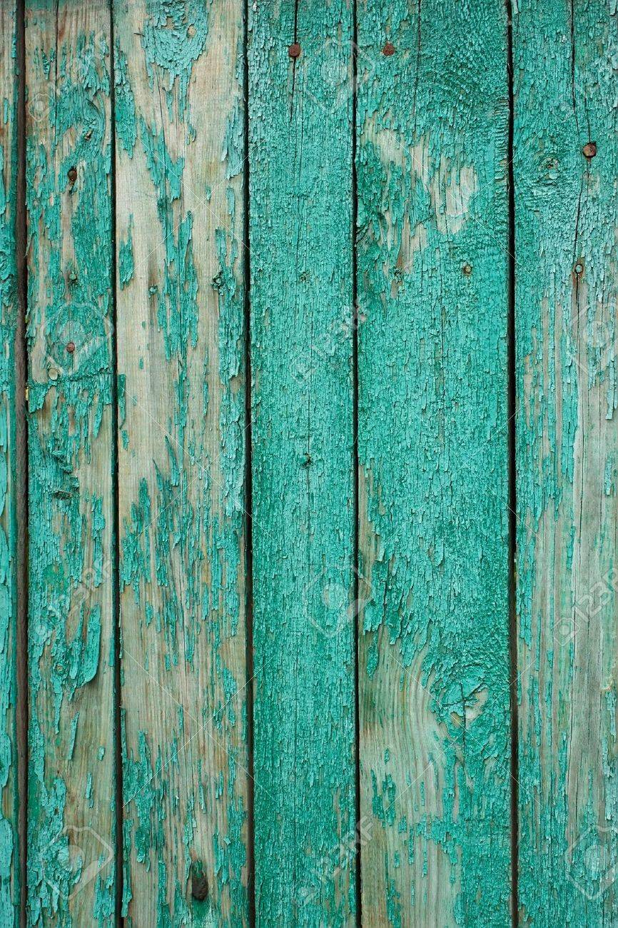 Fragment the shield of parallel vertical old wooden boards painted in green Stock Photo - 10399262