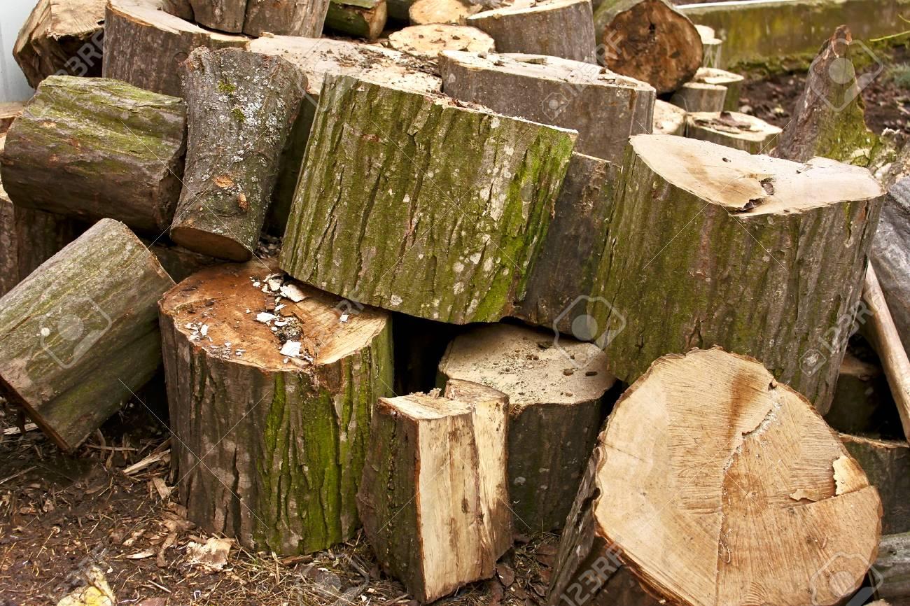 pile de grosses billes de bois de chauffage charme hachées banque d