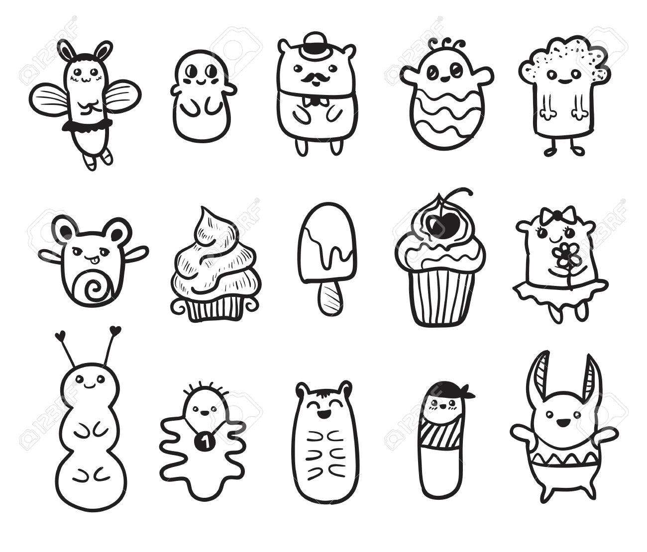 doodle vector illustration with animals funny monsters graffiti