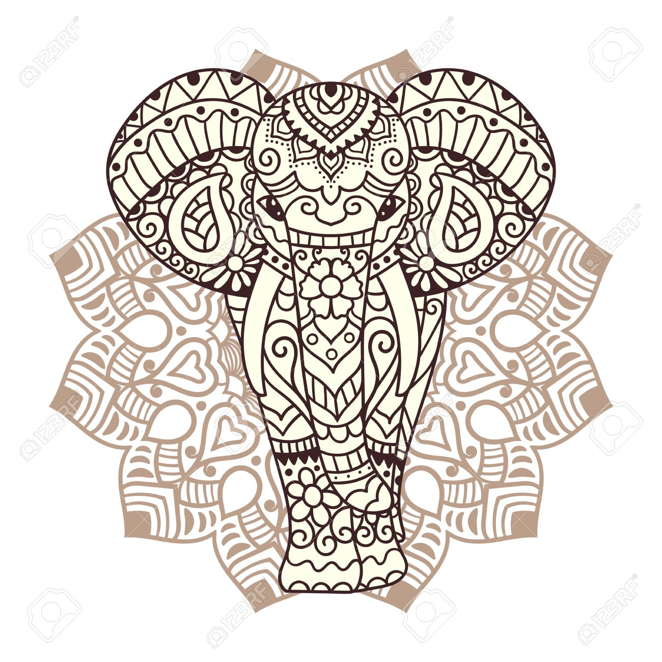 decorative elephant with mandala indian theme with ornaments