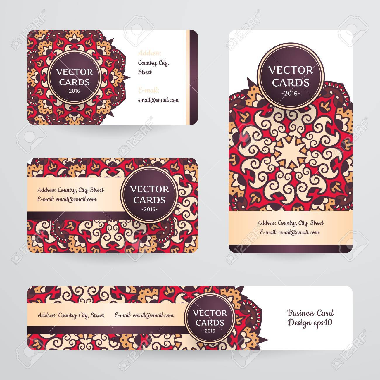 Business cards with mandala vector template tribal theme vintage business cards with mandala vector template tribal theme vintage business card collection reheart Gallery