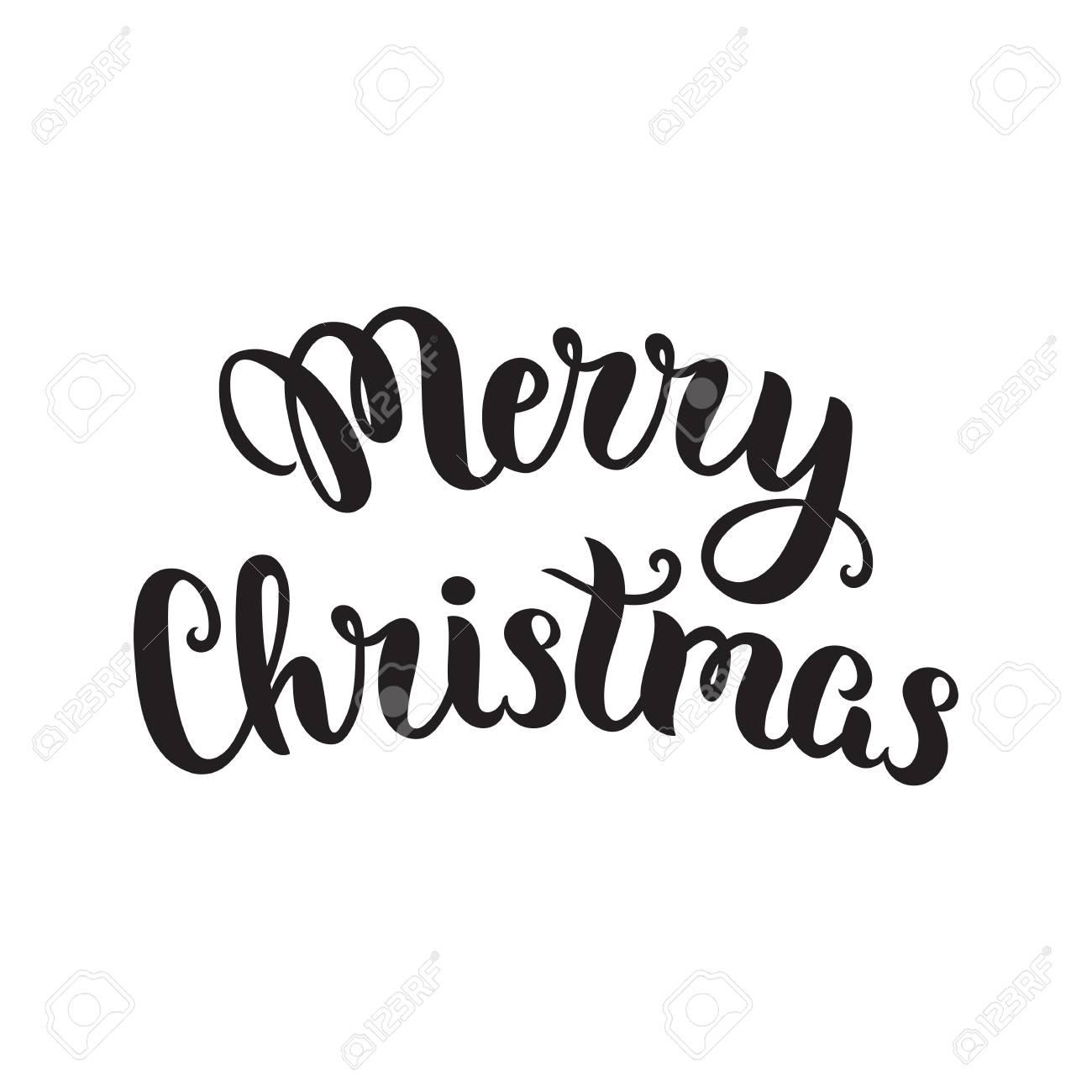 Christmas Lettering.Merry Christmas Lettering Vector Art Illustration Christmas