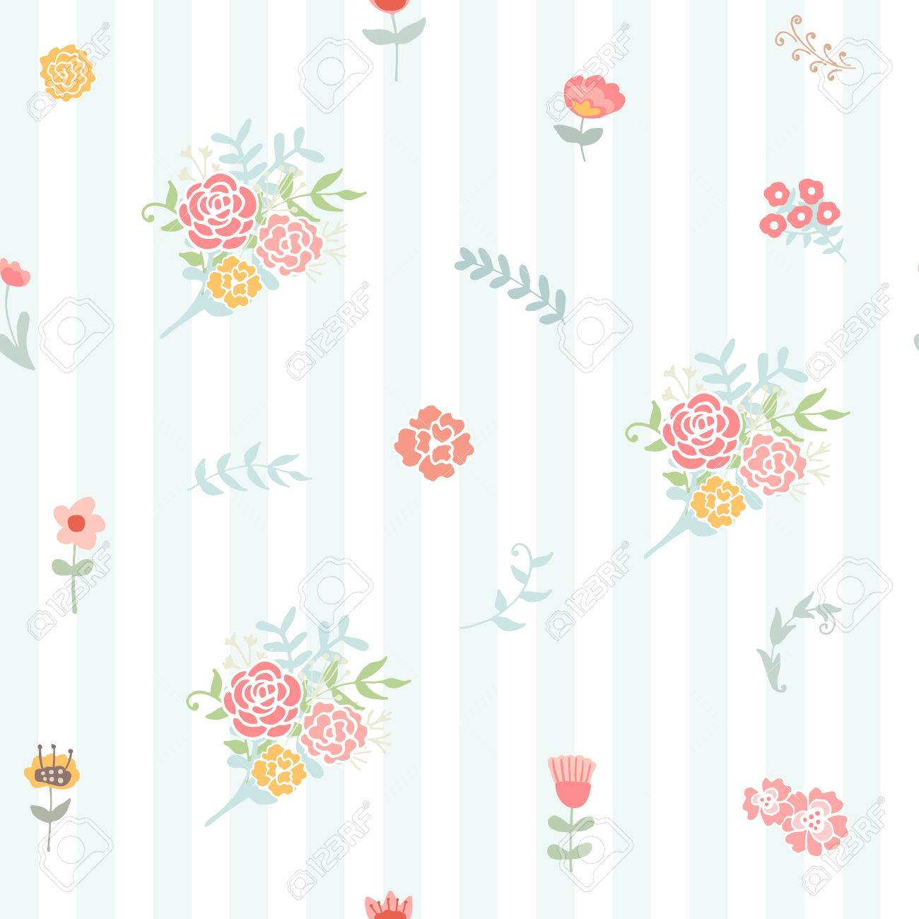 Awesome Wedding Floral Seamless Background Shabby Chic Style Vector Beutiful Home Inspiration Xortanetmahrainfo
