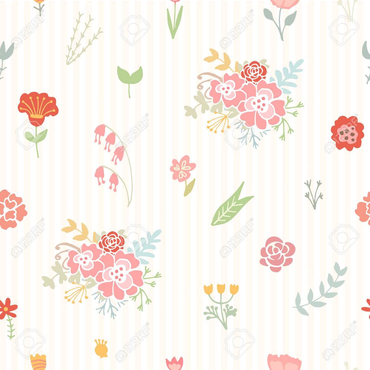 Wondrous Wedding Floral Seamless Background Shabby Chic Style Vector Beutiful Home Inspiration Xortanetmahrainfo