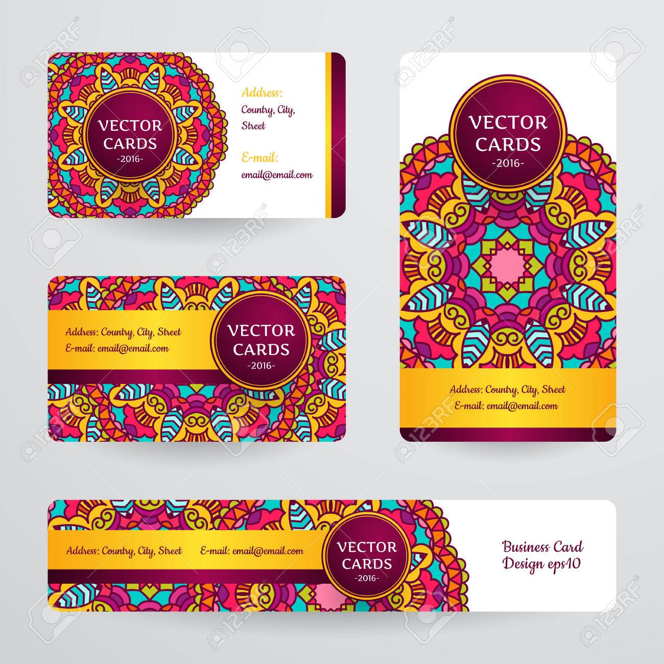 Business Cards With Mandala. Vector Template, Tribal Theme. Vintage ...