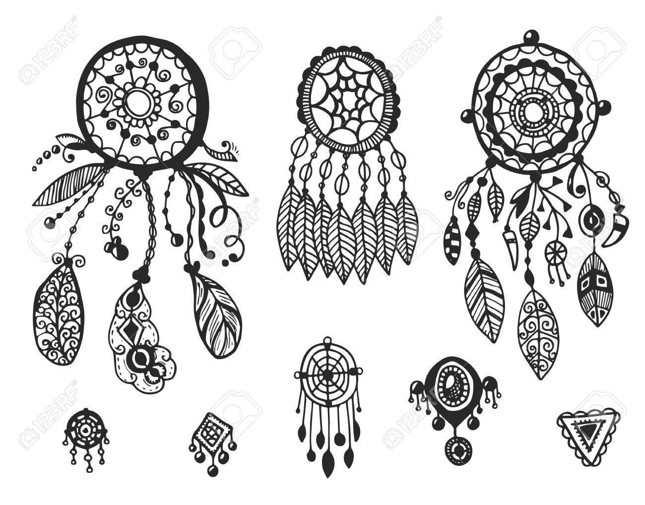 Tribal Colección De Elementos Vectoriales Dibujado A Mano Indio
