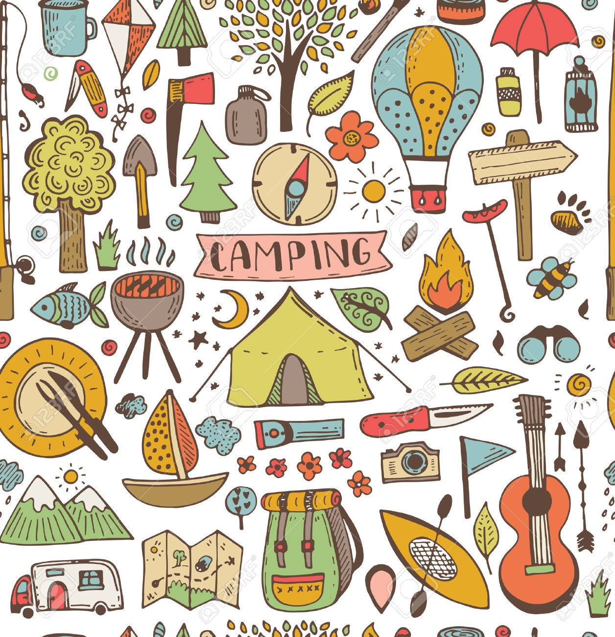Camping doodle seamless pattern. Vector sketch illustration. Travel and camping items. - 51713309