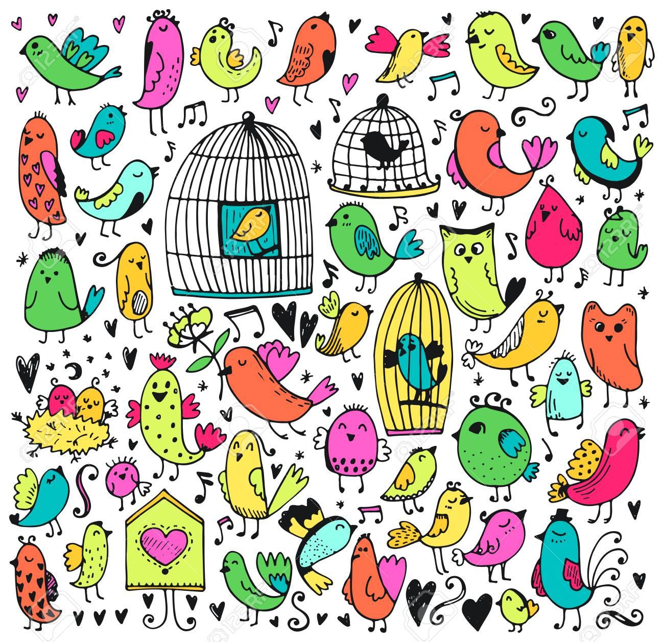かわいい鳥のセットです。ベクトル漫画のイラスト。背景を落書き
