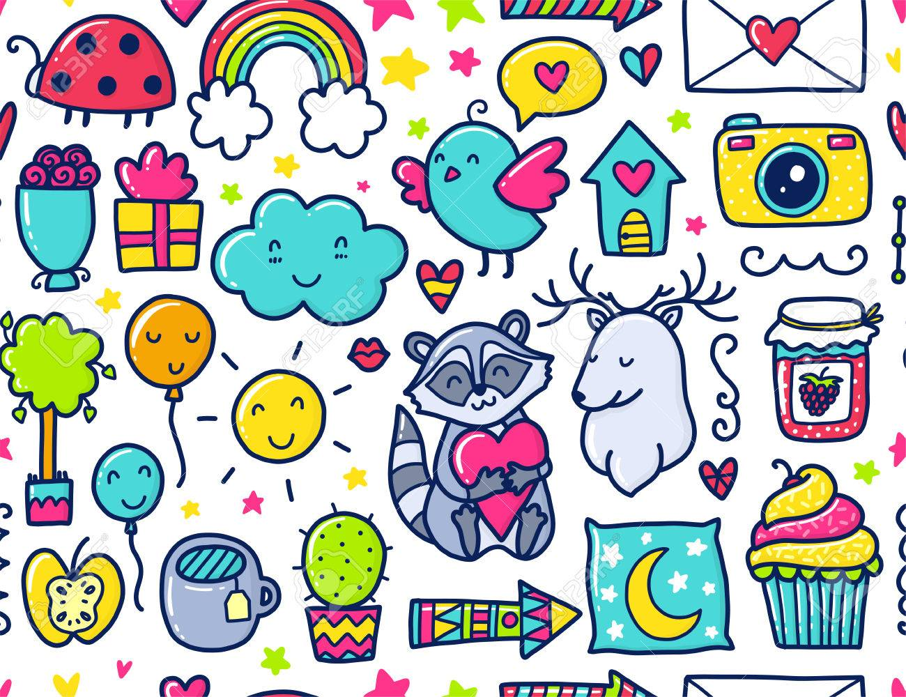 落書きかわいいシームレス パターン。色ベクトルの背景。心と花、動物