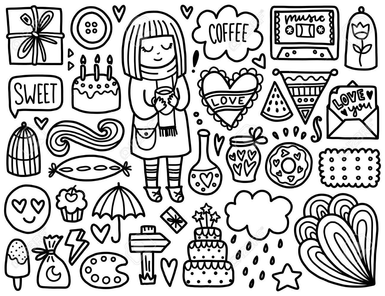 Doodles Elementos Lindo. Colorear Vector Negro. Ilustración Con El ...
