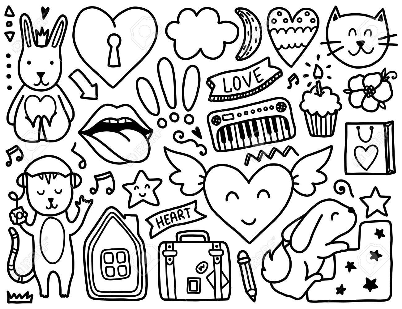 Doodles Elementos Lindo Colorear Vector Negro Ilustración Con Corazones Y Flores Los Animales Y Los Labios Nubes Y Estrellas Diseño Para Las
