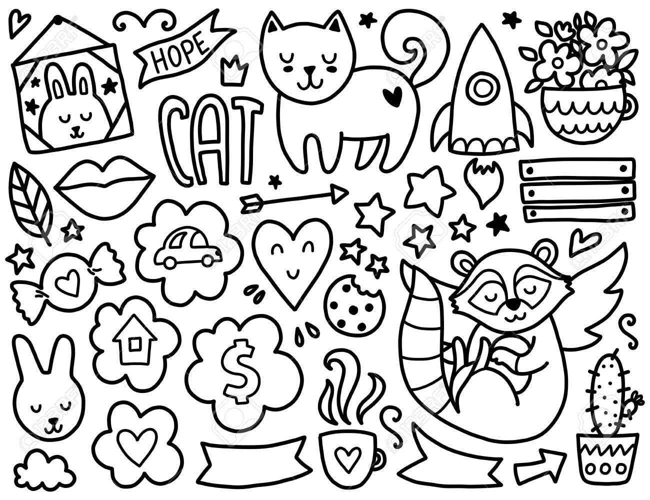 Doodles Elementos Lindo Colorear Vector Negro Ilustración Con Corazones Y Flores Animales Y Café Las Nubes Y Estrellas Diseño Para Las