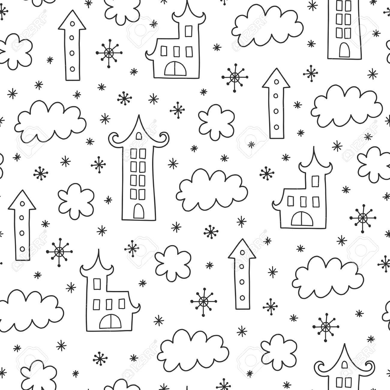 Doodles Motif De Noël Répété Sur Fond Noir Et Blanc Thème De Noël Illustration Avec Maison Et Nuage Dessin Pour T Shirt Textile Et Imprimés