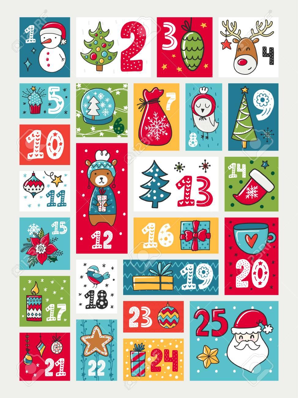 Calendario De Adviento Colorido Ilustracion Con Decoraciones Y - Calendario-de-adviento