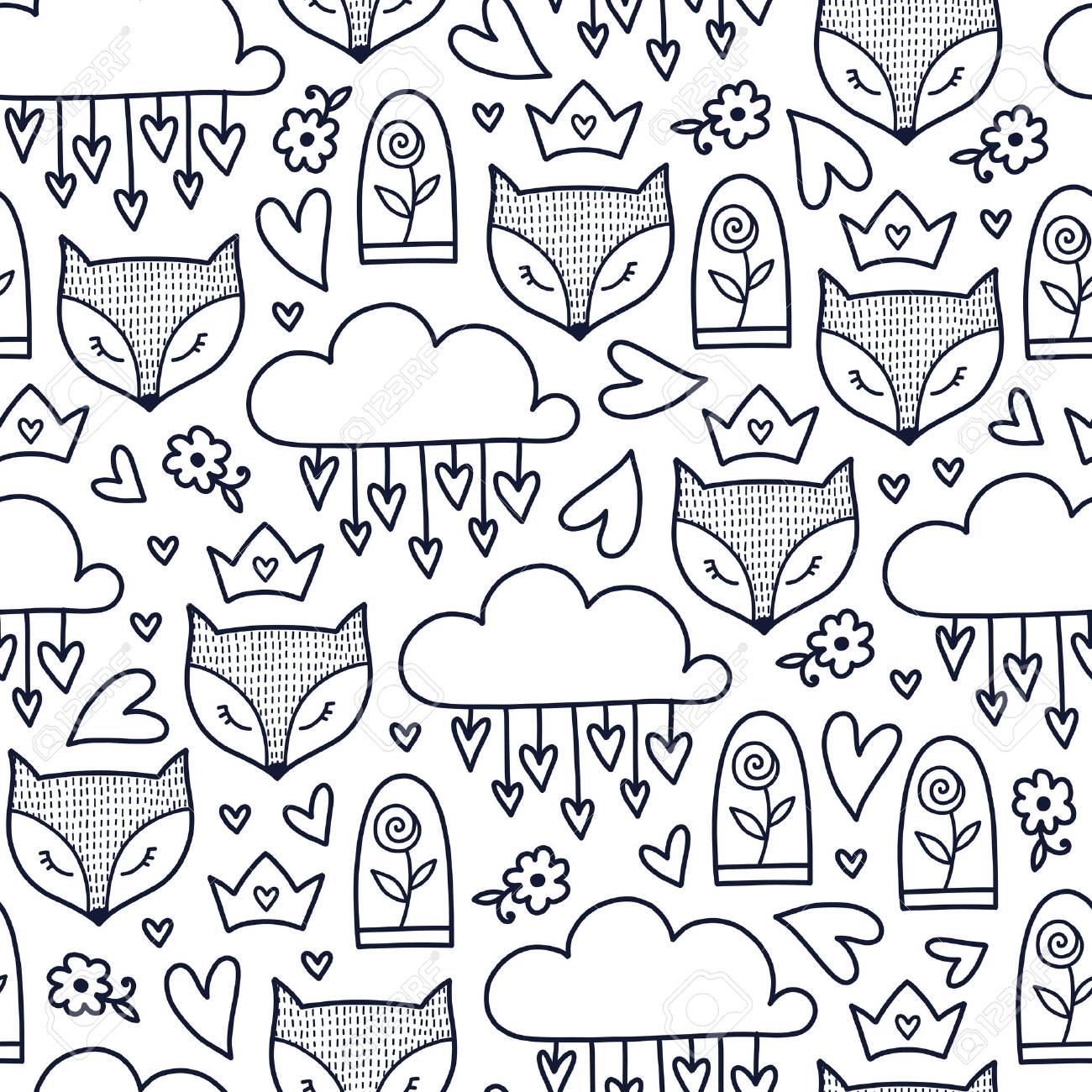 Doodles Lindo Patrón Sin Costuras. Fondo De Vector Monocromo ...
