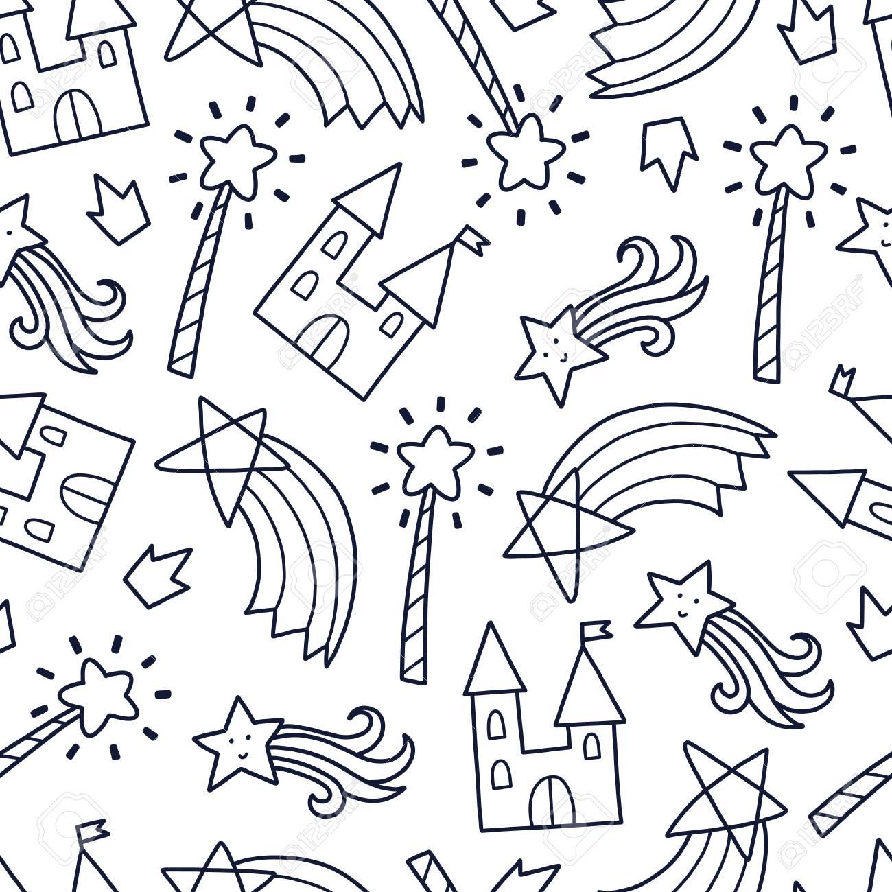 落書きかわいいシームレス パターン モノクロのベクトルの背景 城 魔法の杖 虹のイラスト T シャツ 繊維 印刷 デザインします のイラスト素材 ベクタ Image