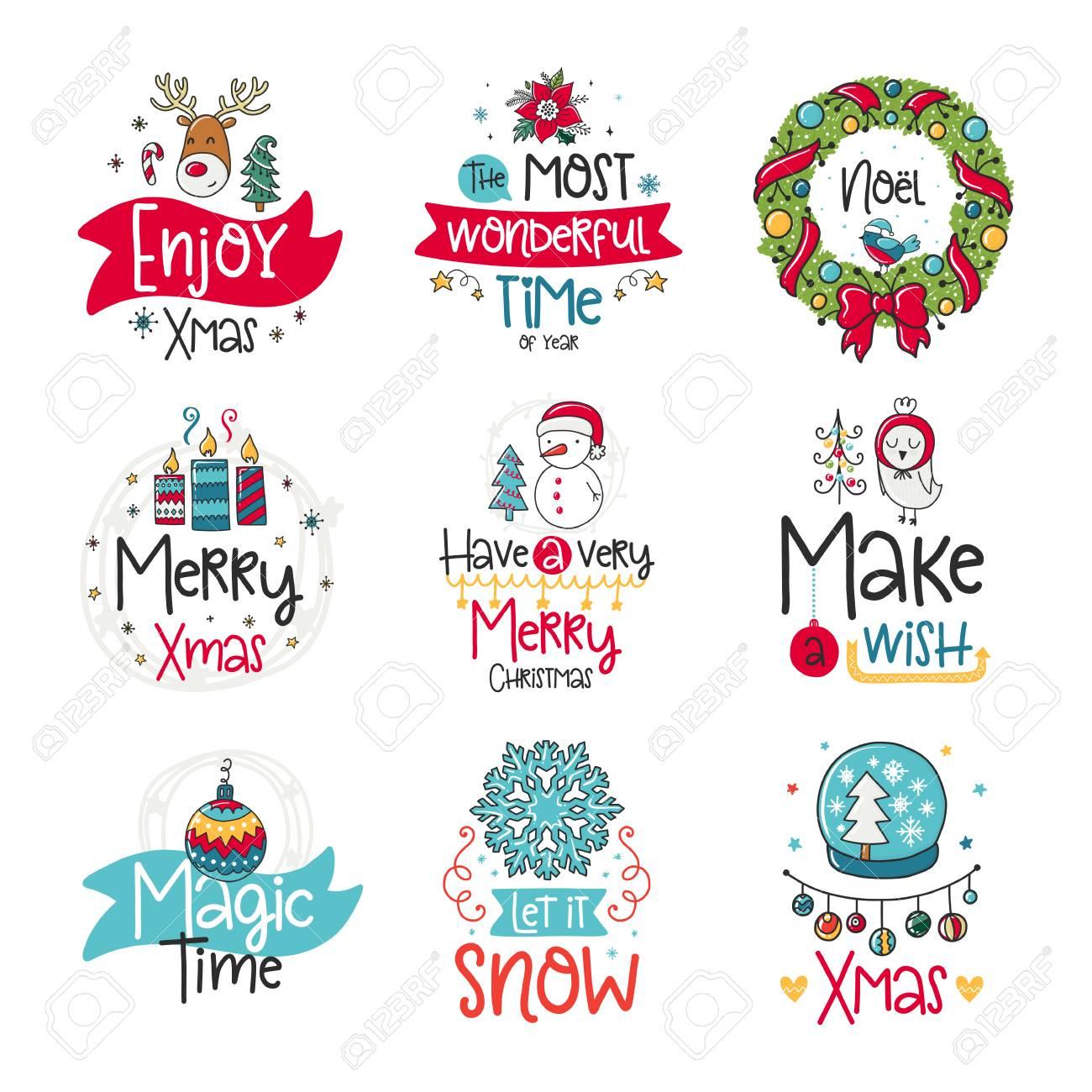 Coleção De Cartaz De Vetor Com Elementos De Frase Papai Noel E Decoração Cartão De Tipografia Imagem Colorida Feliz Natal Design Para T Shirt E