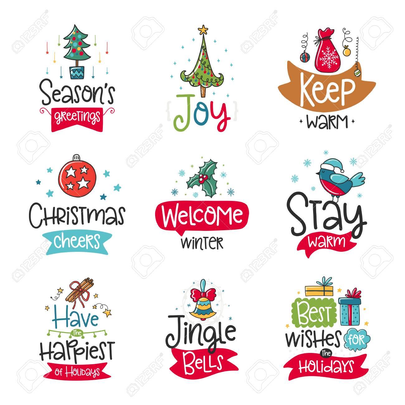 Colección De Carteles De Vector Con Frase Santa Y Elementos De Decoración Tarjeta De Tipografía Imagen En Color Feliz Navidad Diseño Para