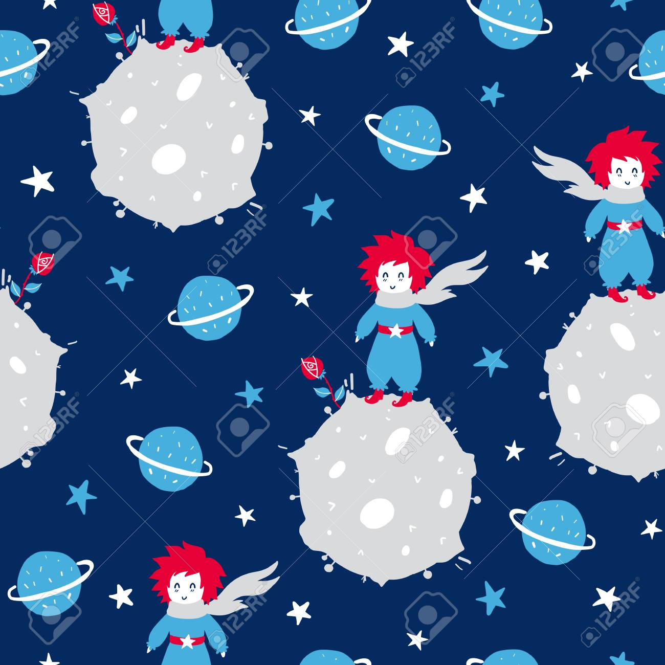 Fairytale cute seamless pattern. Color vector background with boy and planet. Illustration. Design for T-shirt, textile and prints. - 123206236