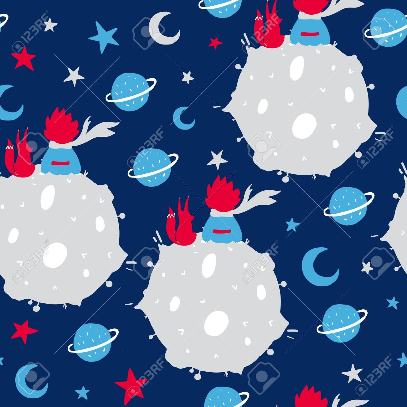 Fairytale cute seamless pattern. Color vector background with boy and fox. Illustration. Design for T-shirt, textile and prints. - 123206250