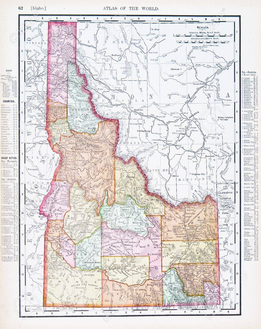 Vintage Map Of The State Of Idaho United States Id Copyright
