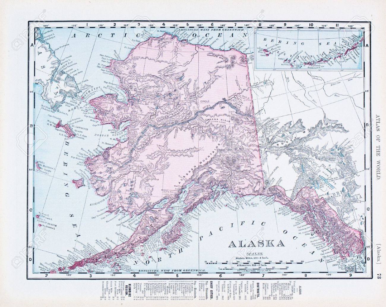 Vintage Map Of The State Of Alaska United States Copyright - Us map and alaska