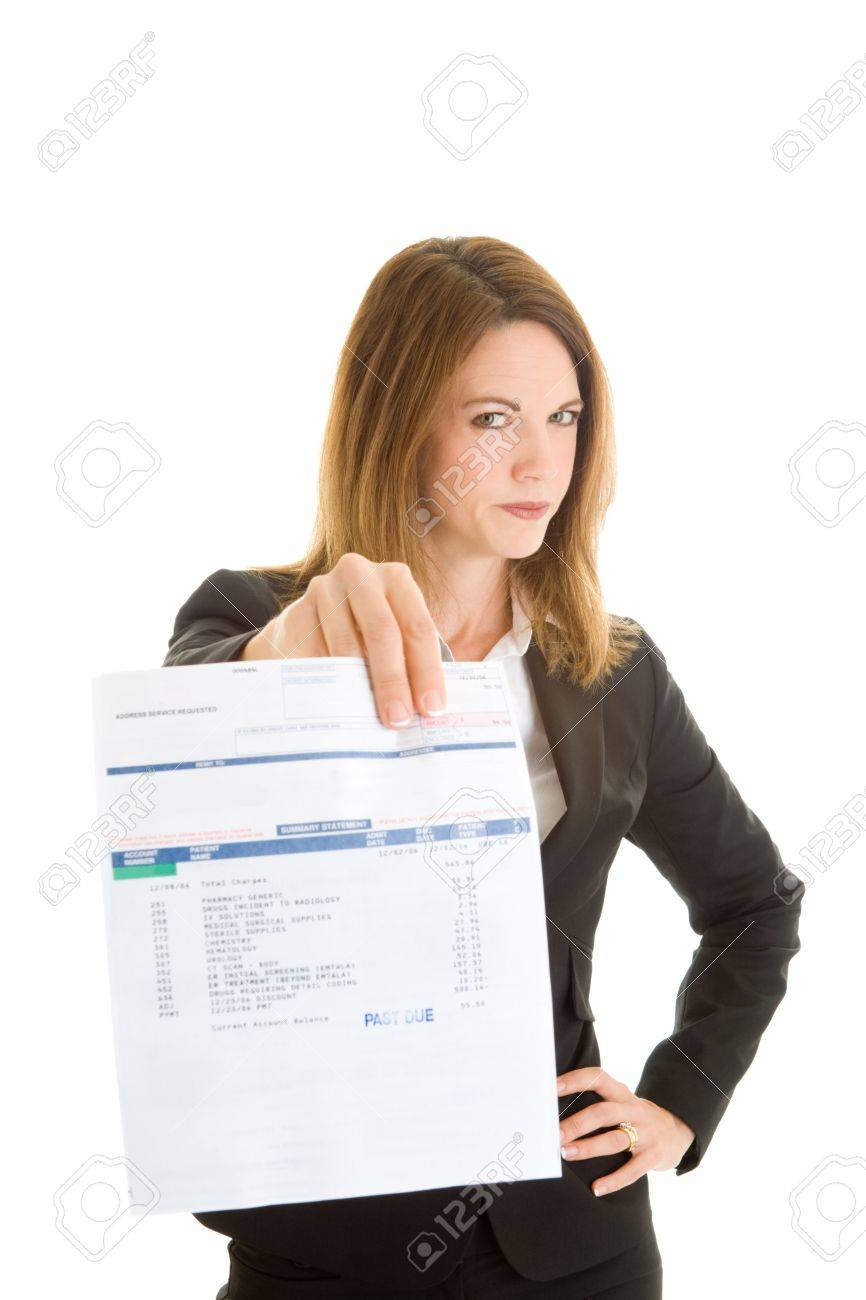 Caucasian woman in a suit holding out a medical bill marked past due.  Diagnostic codes on document do not identify patient Stock Photo - 9174358