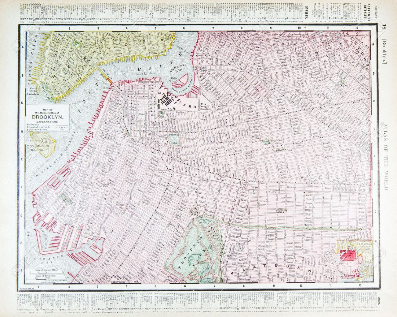 Vintage Street Map Downtown Brooklyn New York NY 1900 Stock Photo