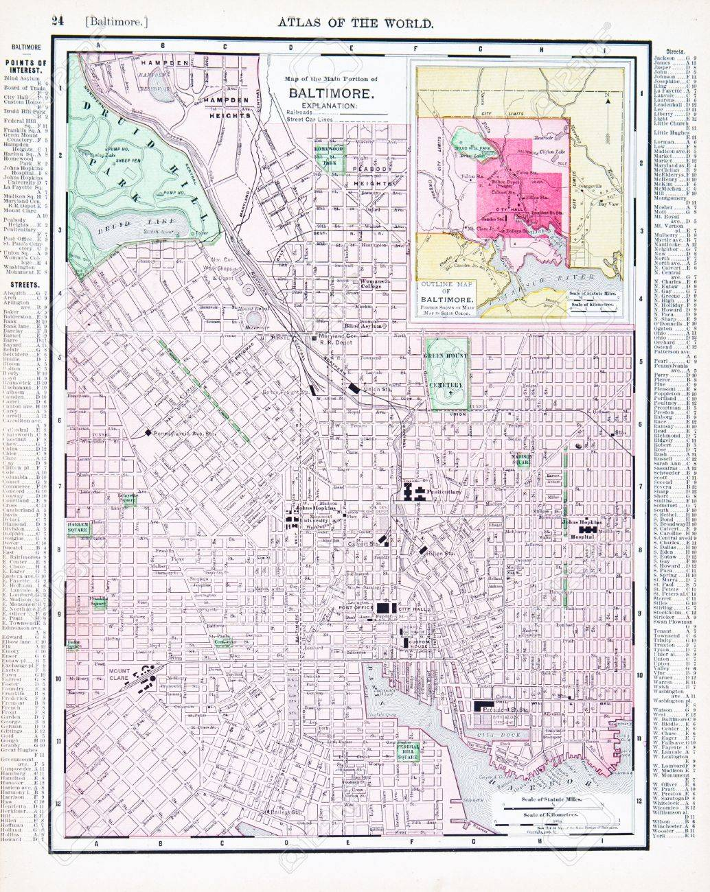 Vintage Map Of The City Of Baltimore Maryland Usa 1900 Stock