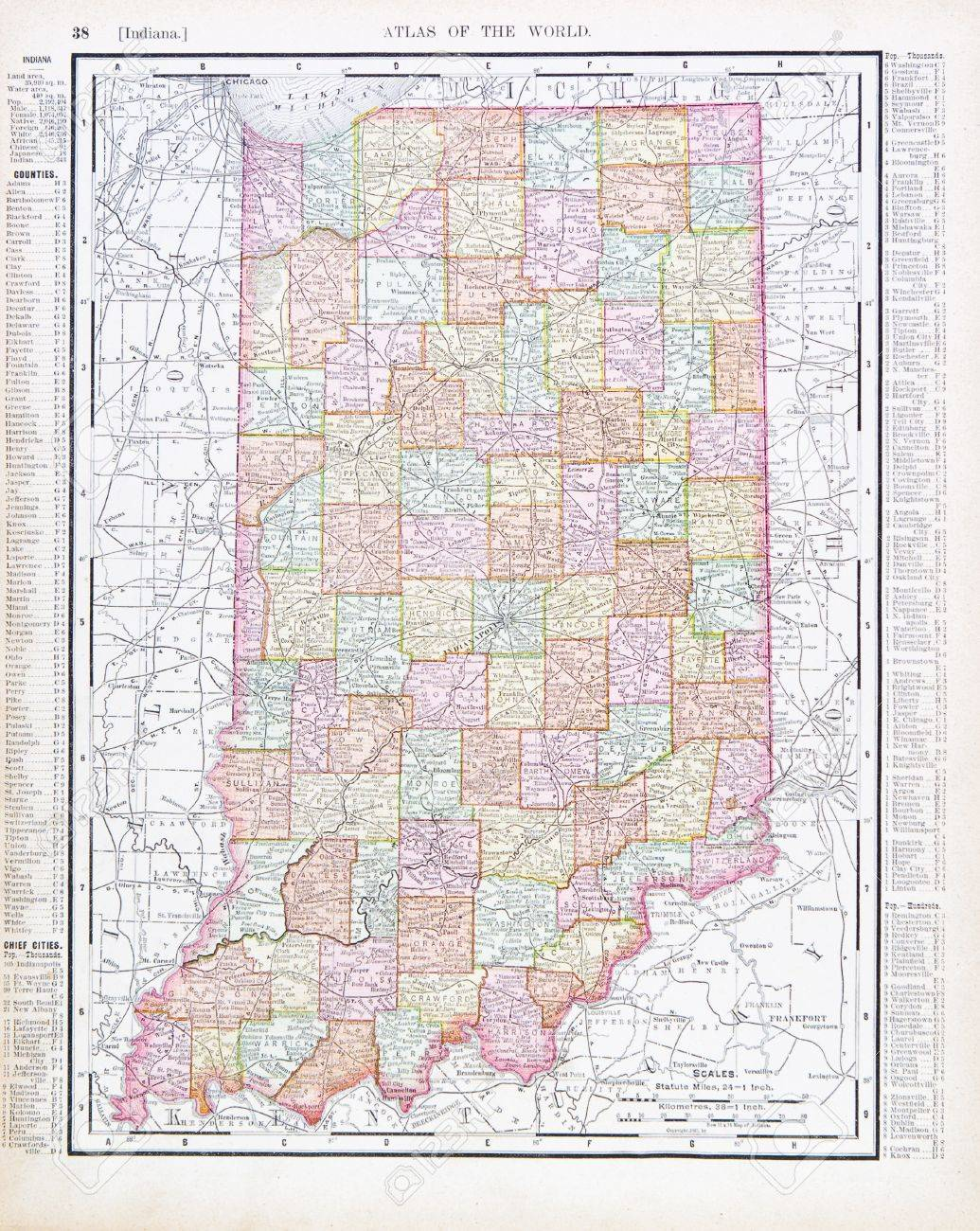 Vintage Map Of The State Of Indiana USA Stock Photo - Map of state of indiana