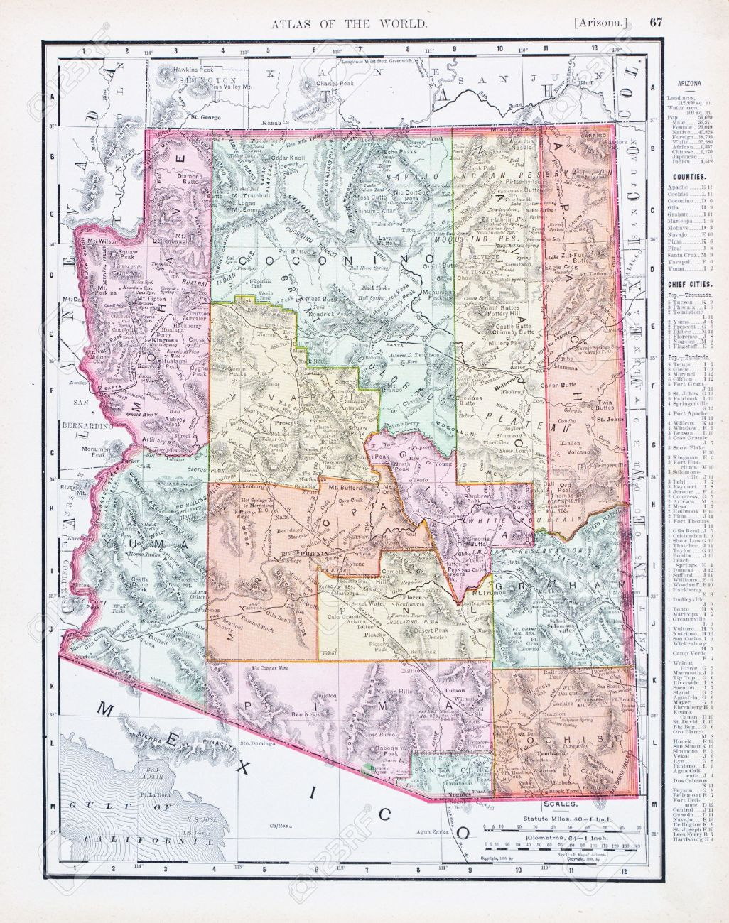 Vintage Map Of The State Of Arizona United Sates Stock - Arizona map state