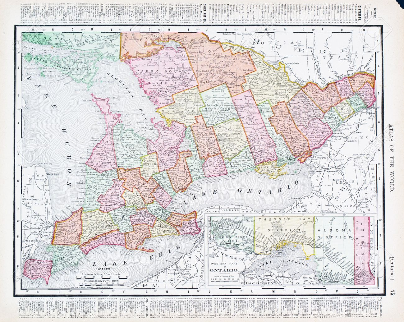 Vintage Map Of Ontario Canada Stock Photo Picture And - Ontario canada map